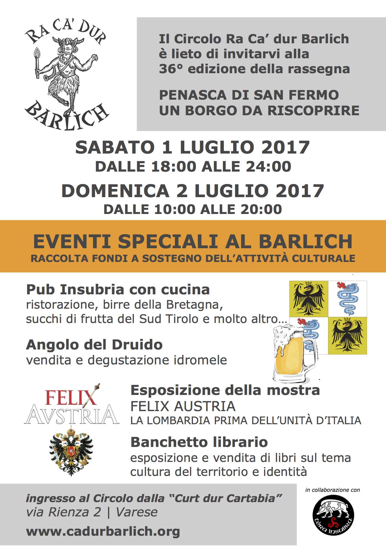 TERRA INSUBRE AL BARLICH PER LA FESTA DI SAN FERMO - 1 E 2 LUGLIO 2017 volantino 1 2luglio Barlich