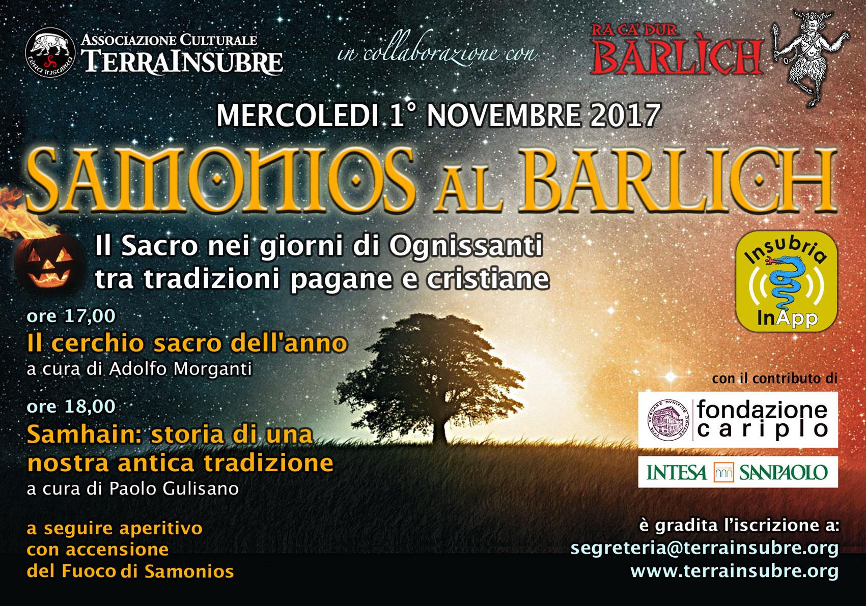 SAMONIOS AL BARLICH DI VARESE MERCOLEDÌ 1° NOVEMBRE 2017 samonios 2017