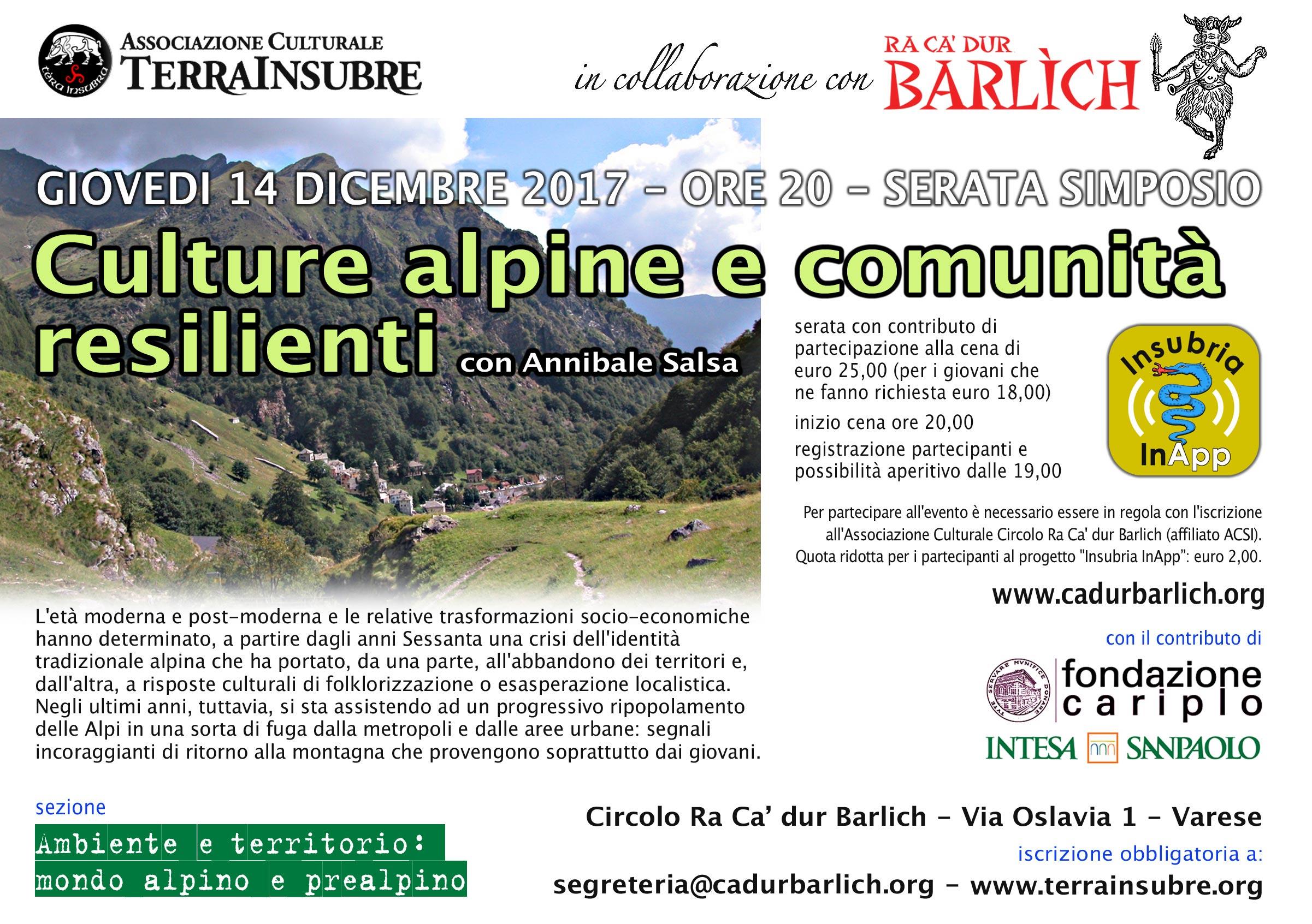 """""""CULTURE ALPINE E COMUNITÀ RESILIENTI""""   3° EVENTO DI """"INSUBRIA inAPP"""" IL 14 DICEMBRE AL BARLICH culture alpine salsa"""