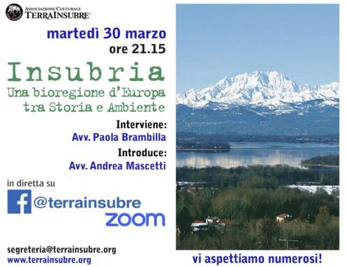 EVENTO ON-LINE: INSUBRIA. UNA BIOREGIONE D'EUROPA TRA STORIA E AMBIENTE